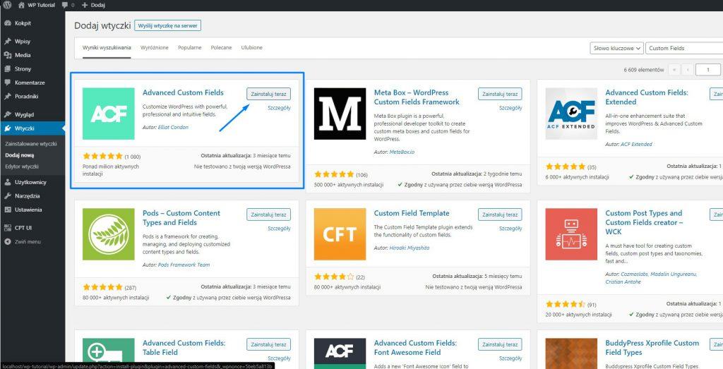 Advanced Custom Fields - własne typy pól WordPress