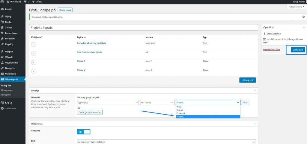 Advanced Custom Fields - własne typy pól WordPress 3