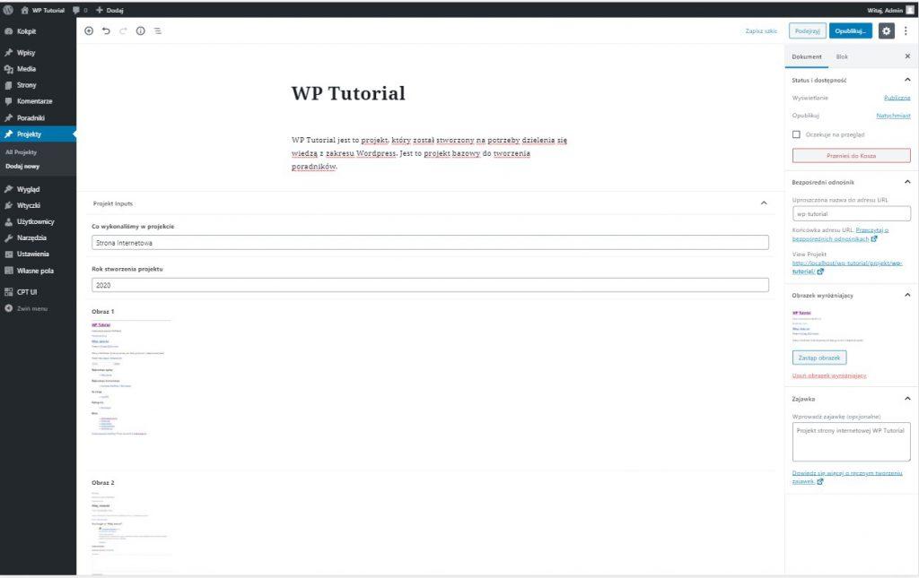 Advanced Custom Fields - własne typy pól WordPress 2